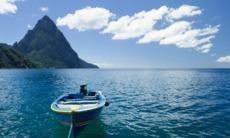 Boat near the Pitons, Saint Lucia