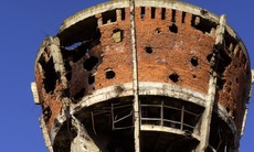 Damaged water tower in Vukovar, Croatia