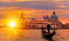 Gondola in Venice at sunset