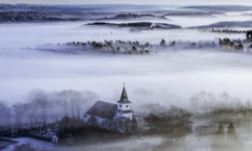 Small town in the fog, southern Sweden