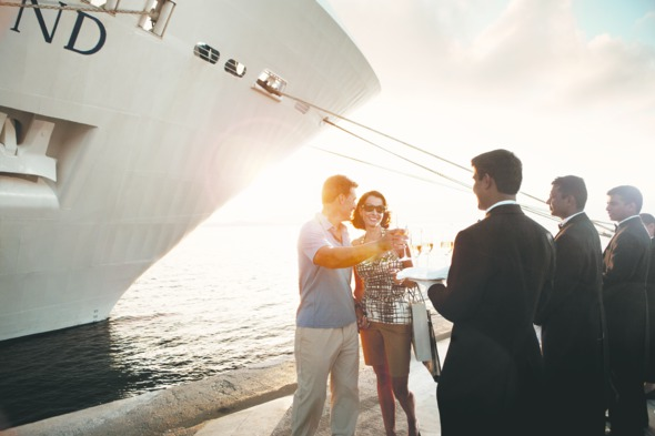 Couple welcome aboard