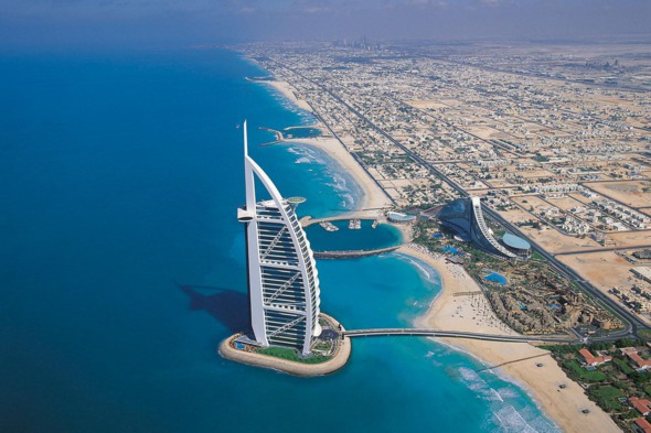 Aerial view of the Burj Al Arab, Dubai