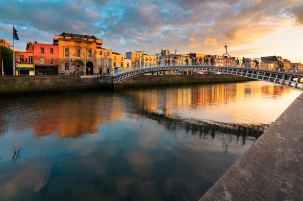 Sunset over the Liffey river in Dublin, Ireland