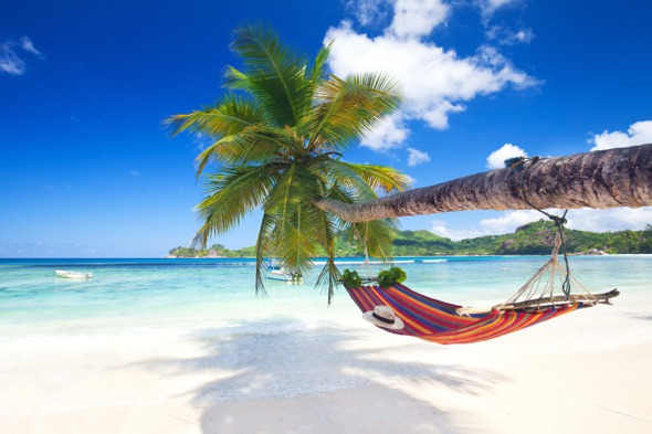 Seychelles Mahe Beach with hammock