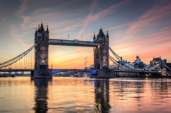 Sunrise over Tower Bridge, London