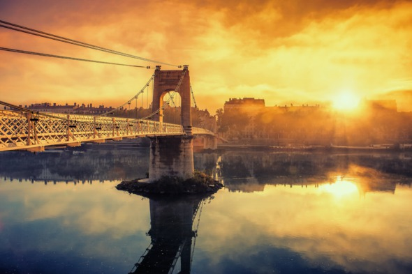 Rhone & Saone river cruises - Sunrise over Lyon, France