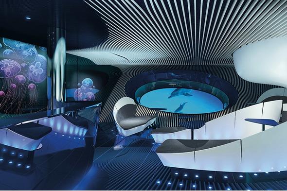 Ponant's underwater Blue Eye Lounge