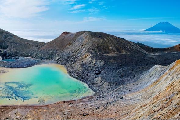 Paramushir Ebeko volcano in the Kuril Islands, Russia