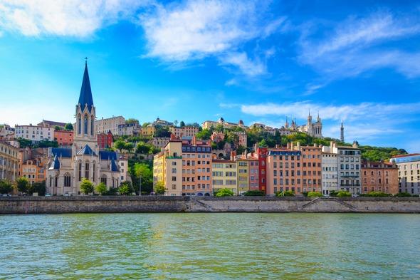 Riverfront in Lyon, France
