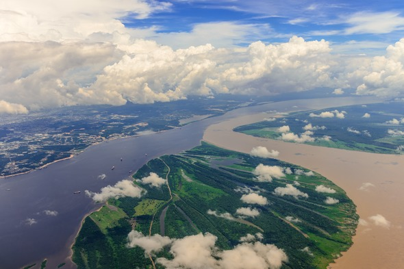 Confluence of the Amazon and Rio Negro at Manaus