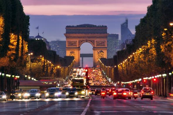 Champs Elysées at night, Paris