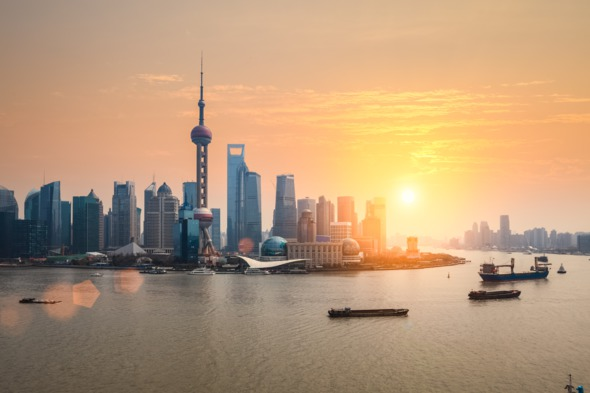Sunset over Shanghai, China