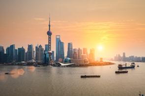 Sunset over Shanghai, China