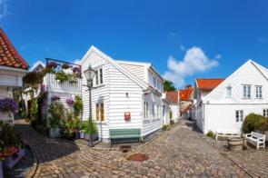 White houses in old Stavanger, Norway