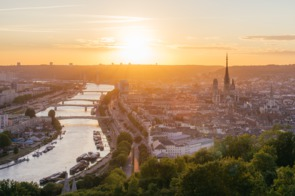 Sunset over Rouen, France