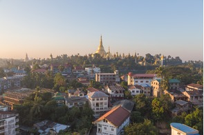 Sunrise over Shwedagon Pagoda in Yangon, Myanmar (Burma)