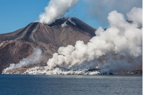 Snow volcano on Chirpoy Island, Russian Far East