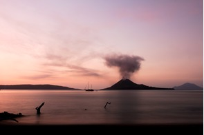 Sunset over Anak Krakatau, Indonesia