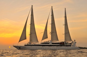 Le Ponant sunset in the Maldives