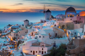 Sunset over Santorini, one of our favourite Eastern Mediterranean cruise ports