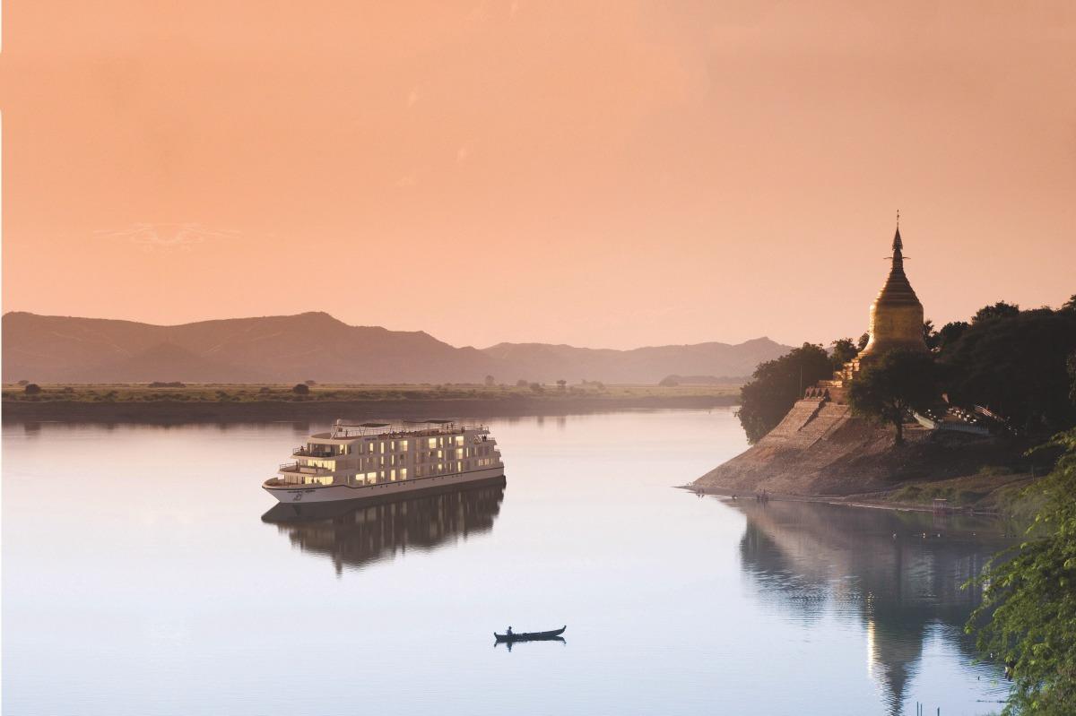 Scenic Aura on the Ayeyarwady river, Myanmar