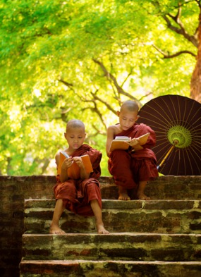 Myanmar young buddhist monks