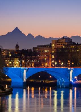 Turin Po River at night