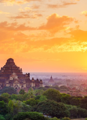 Bagan temples at sunset