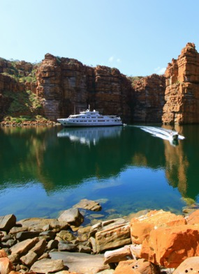 Small ship cruising on True North in the Kimberley Region, Australia