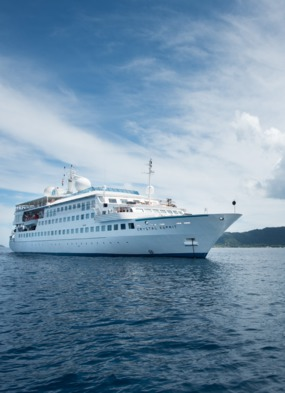Small ship cruising on board Crystal Esprit in the Seychelles