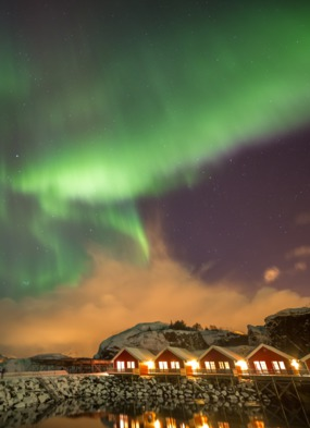Aurora Borealis over Mortsund Harbour near Leknes, Norway