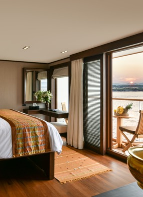 How to choose your river cruise cabin, such as this Deluxe Suite on Sanctuary Ananda