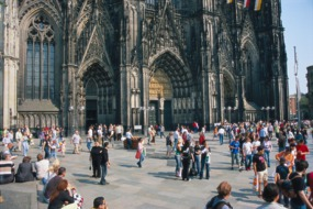 People outside Cologne cathedral