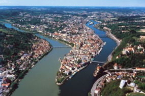 Confluence of three rivers at Passau, Germany