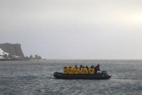 Zodiac boat off Antarctica