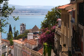 Lisbon street overlooking the Tagus
