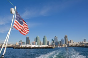 View of San Diego from boat
